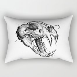 Tiger Skull Handmade Drawing, Made in pencil, charcoal and ink, Tattoo Sketch, Tattoo Flash, Sketch Rectangular Pillow