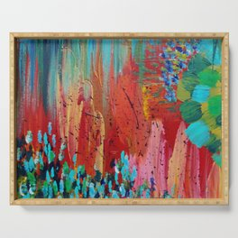REVISIONED RETRO - Bright Bold Red Abstract Acrylic Colorful Painting 70s Vintage Style Hip 2012 Serving Tray