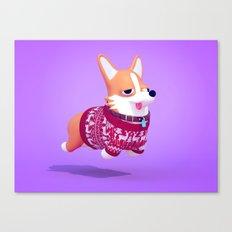 Dogs In Sweaters: Corgi Canvas Print