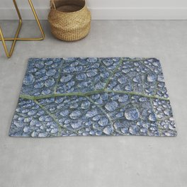 Cool water drops dew texture leaf Rug