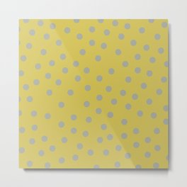 Simply Dots Retro Gray on Mod Yellow Metal Print