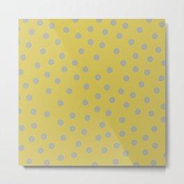 Simply Dots Retro Gray on Mod Yellow Metal Print