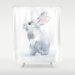 Gray Bunny Rabbit Watercolor Painting Shower Curtain