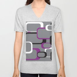 Violet Purple White Black Retro Square Pattern Gray Unisex V-Neck