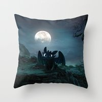 daenerys Throw Pillows featuring TOOTHLESS halloween by kattie flynn