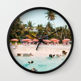 Pig Beach 2 Wall Clock