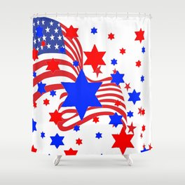 PATRIOTIC JULY 4TH AMERICAN FLAG ART Shower Curtain