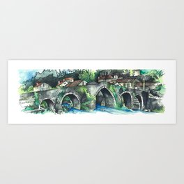 Camino Finisterre - Puente Maceira Art Print