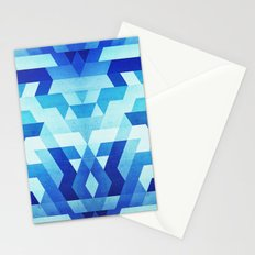 Abstract geometric triangle pattern (futuristic future symmetry) in ice blue Stationery Cards