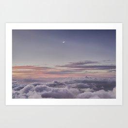 Sunset and Moon Rise Above the Clouds // Mount Haleakala, Maui Art Print