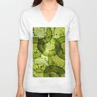 kiwi V-neck T-shirts featuring kiwi by Claudia Araujo