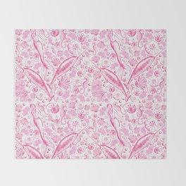 Mermaid Toile - Hot Pink Throw Blanket