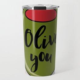 Olive You I Love You Funny Cute Valentine's Day Art Travel Mug