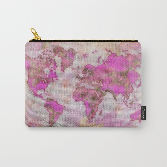 World Map Violet Carry-All Pouch