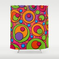polka dots Shower Curtains featuring Polka Dots by Shelly Bremmer