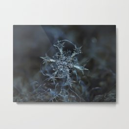 Real snowflake macro photo - Starlight Metal Print