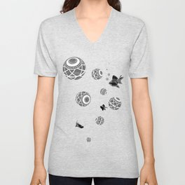 Black fish & Ball Unisex V-Neck