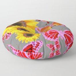 YELLOW SUNFLOWERS & MORPHING LILAC PURPLE MONARCH BUTTERFLIES Floor Pillow