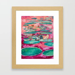 Ginger Cat amongst the Lily Pads on a Pink Lake Framed Art Print
