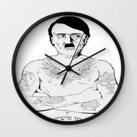 jewish Wall Clocks featuring Adolf Hitler Jewish Tattoo by Jacinta Stokes