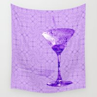 martini Wall Tapestries featuring Cocktail for one by Wendy Townrow