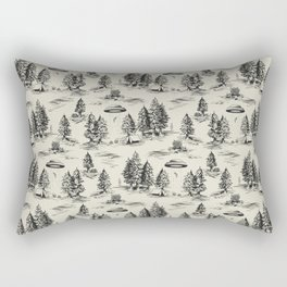 Black Alien Abduction Toile De Jouy Pattern Rectangular Pillow