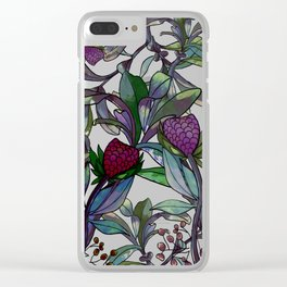 Watercolor red flower leaf garden pattern Clear iPhone Case