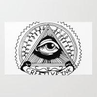 illuminati Area & Throw Rugs featuring illuminati logo by Novus.