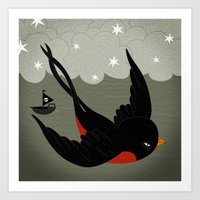swallow Art Prints featuring swallow by gal shkedi