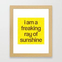 i am a freaking ray of sunshine (Sparkle Pattern) Framed Art Print
