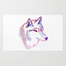 Wolf Watercolor Print Rug