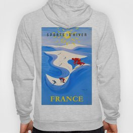Vintage Winter Sports in France Travel Hoody