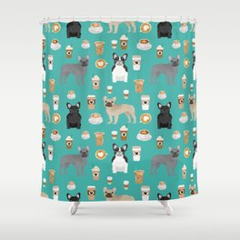 French Bulldog coffee pupuccino dog breed gifts frenchies must haves Shower Curtain