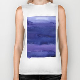Blue Violet Watercolor Horizontal Stripes Abstract Biker Tank