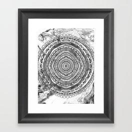 Grey Mandala Marbling Framed Art Print