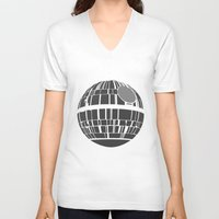 death star V-neck T-shirts featuring Death Star by olive hue designs