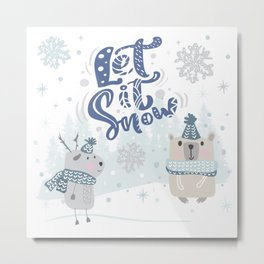 Let It Snow Winter Fun Illustration Metal Print