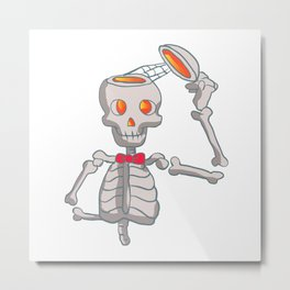 Funny skeleton with bowtie. Metal Print