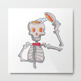 Funny skeleton with bowtie. Metal Print