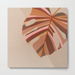 Monstera Leaf - Earthy,Terracotta & Pink Metal Print