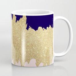 Modern navy blue blush pink gold glitter brushstrokes Coffee Mug
