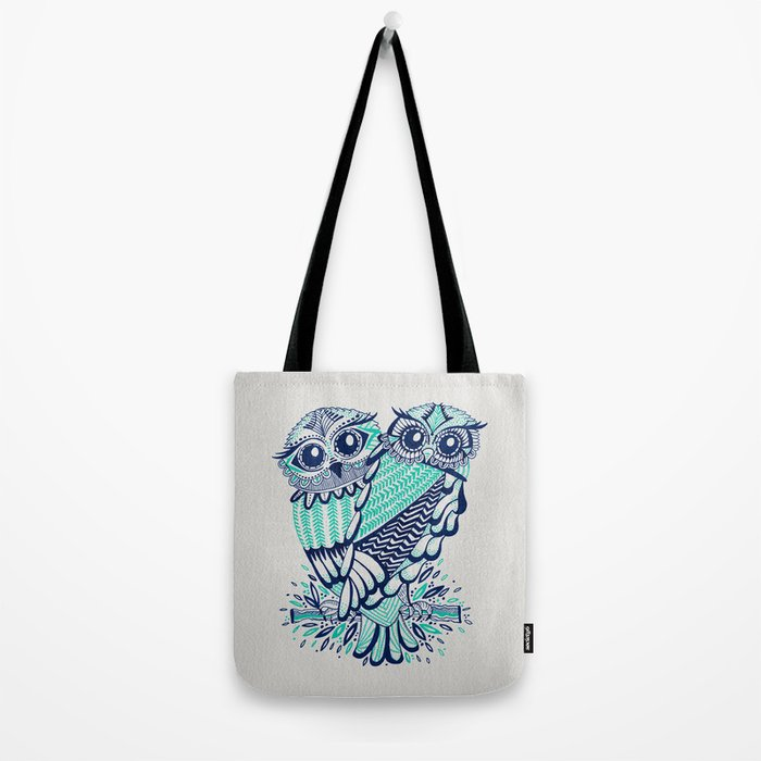 Owls - Turquoise & Navy Tote Bag