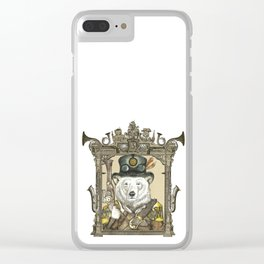 Polarbear Warden with Steampunk Frame Clear iPhone Case