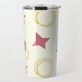 Modern and funny vintage geometric shape 50s mid century hand drawn illustration pattern Travel Mug