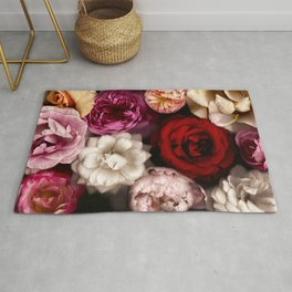 Pink, White, and Red Roses Rug