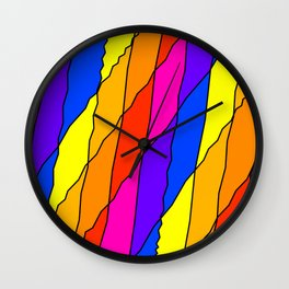 Slanting repetitive lines and rhombuses on bright yellow with intersection of glare. Wall Clock