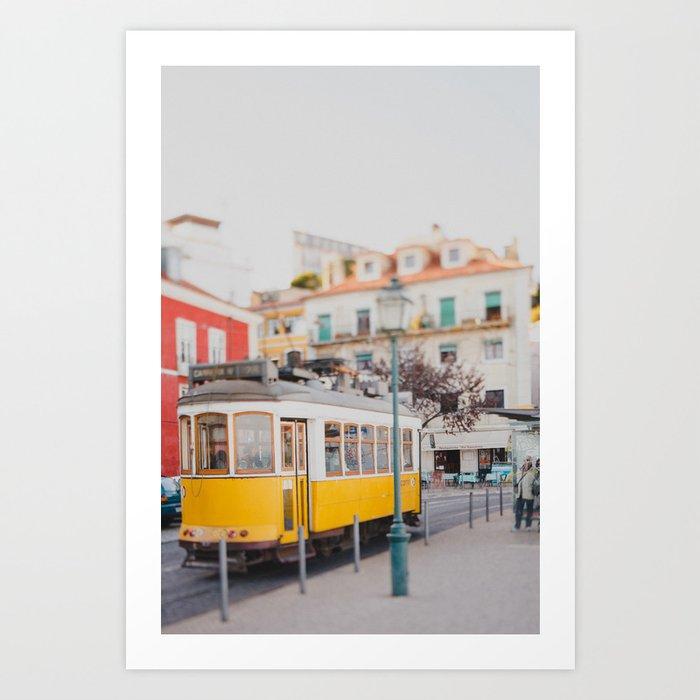 Yellow Tram in Lisbon Art Print