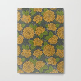 Floral Pattern in Goldenrod and Green Metal Print