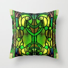 Green and Gold Stained Glass Victorian Design Throw Pillow