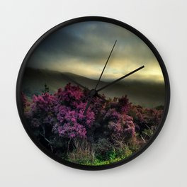 Pink Flowers with Fog Wall Clock